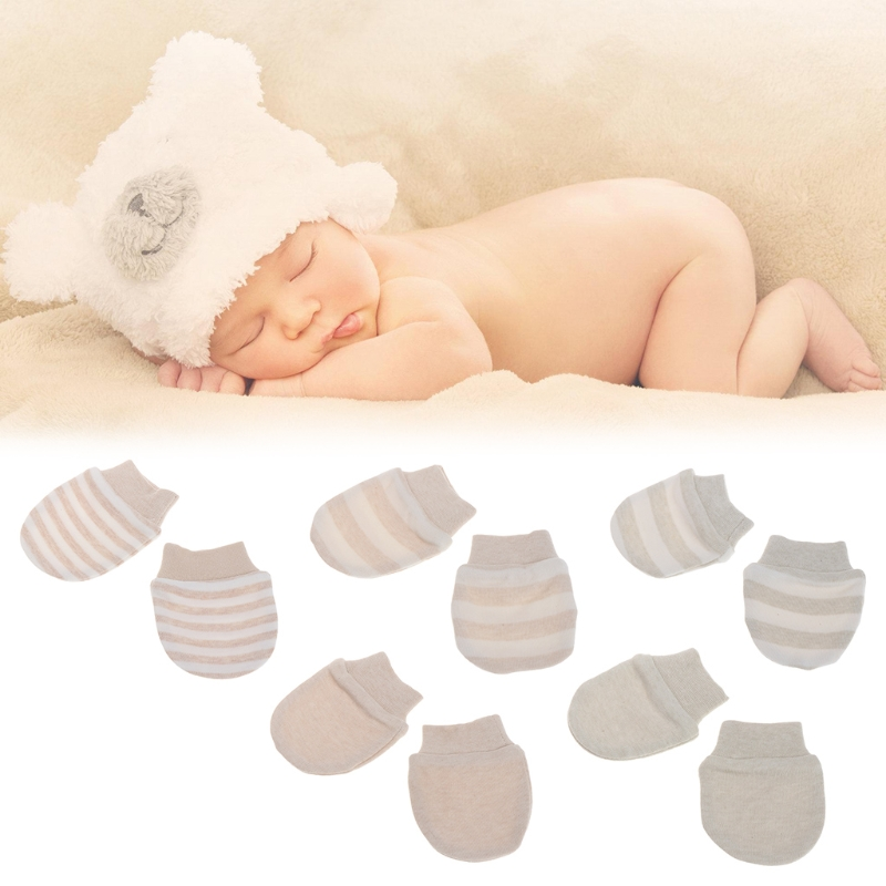 Organic Cotton Newborn Baby Anti Scratch Mittens Gloves Color Light Brown