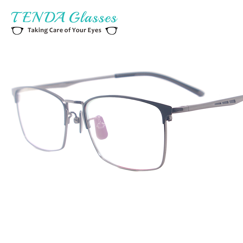 Men Medium Rectangular Glasses Frame Metal Fashion Spectacles For Myopia Prescription Lenses