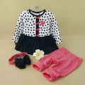 New Kids Baby Girls Clothes Set Heart-shaped Dress,Pant &  Bow Headband 3-Piece Clothing Set Cute Children Outfits Suit 1-3T