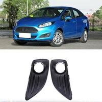 Black Auto Front Bumper Driving Fog Lights Cover Lamp Frame Trim For Ford Fiesta Hatchback 2012 2016