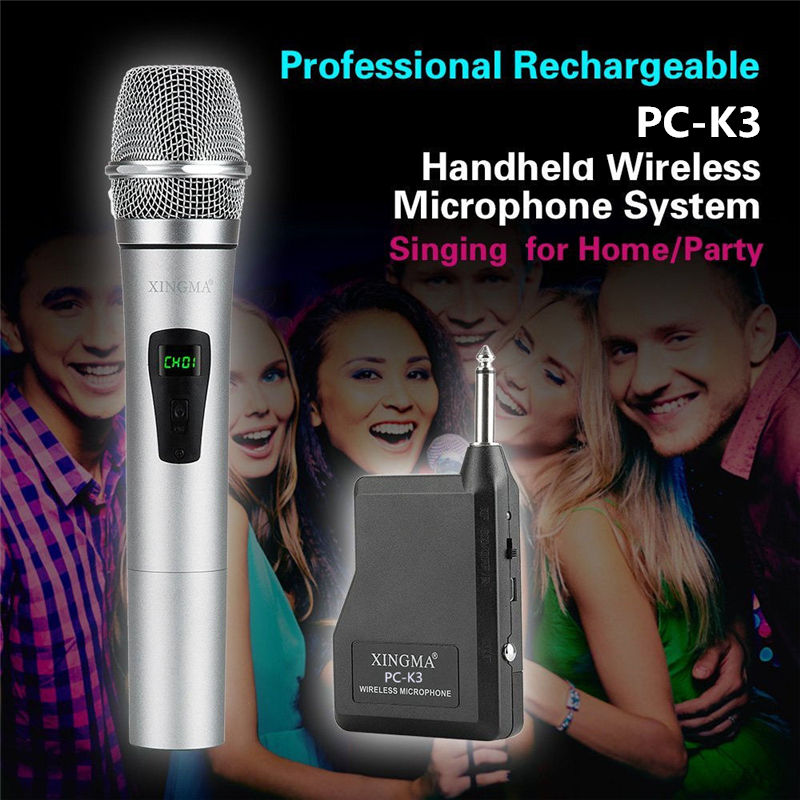 XINGMA PC K3 Wireless Microphone Professional Dynamic VHF Metal Handheld Mic For Karaoke Computer PC Singing KTV With Receiver in Microphones from Consumer Electronics