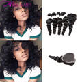 4 Bundles with Lace Closure Indian Virgin Hair Loose Wave Modern Show 7a Indian Loose Wave with closure Cheap Human Hair Weave