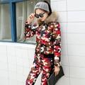 Las mujeres de Invierno de Piel de Diseño Corto Abajo Cubre Twinset Camuflaje Wadded Chaqueta Chaqueta de Algodón Acolchado Abajo Pantalones Conjunto Ropa de Abrigo