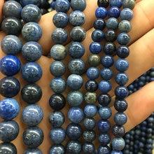 Натуральный Синий дюмортиерит бусины, полудрагоценный драгоценный камень jaspe r свободные бусины для изготовления ювелирных изделий 4 мм 6 мм 8 мм 10 мм 12 мм 1 нить
