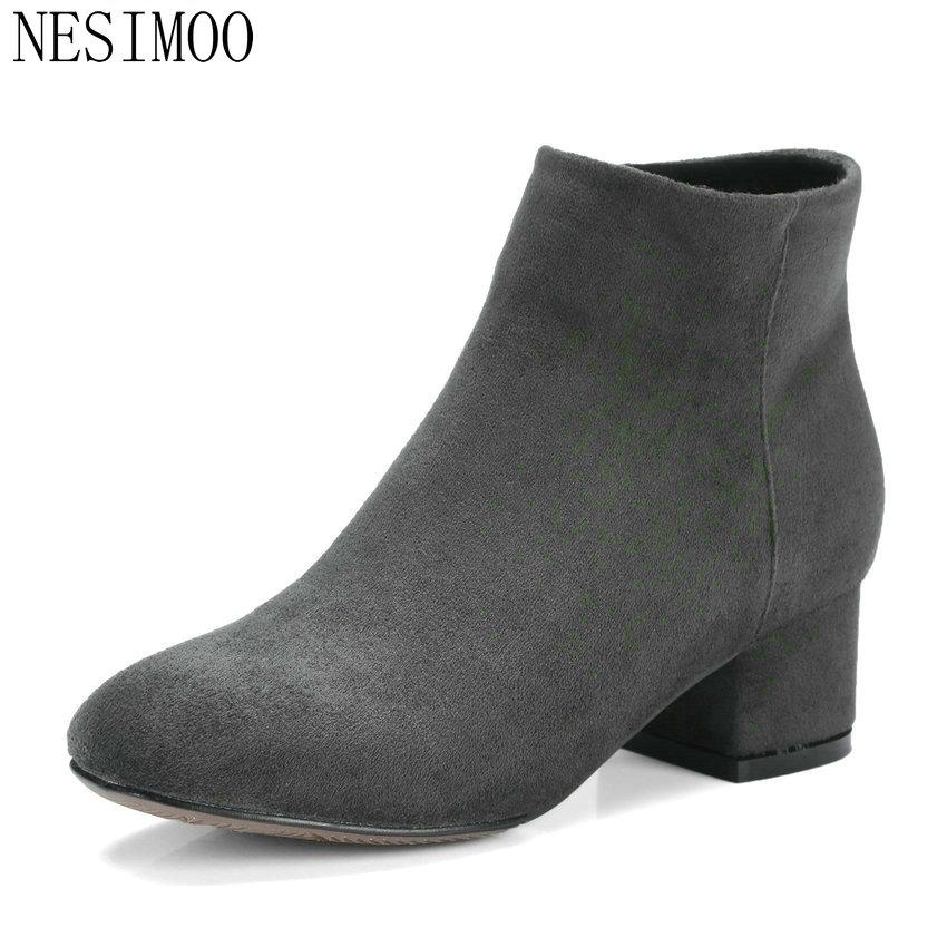 NESIMOO 2018 femmes bottes chaussures d'hiver carré Med talon bottines haute qualité couture Western dames bottes taille 34-43