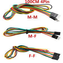 10pcs/lot 4pin 100cm M-M / M-F F-F Jumper Wires 2.54mm AWG26 DuPont Cable for DIY Electronic Breadboard