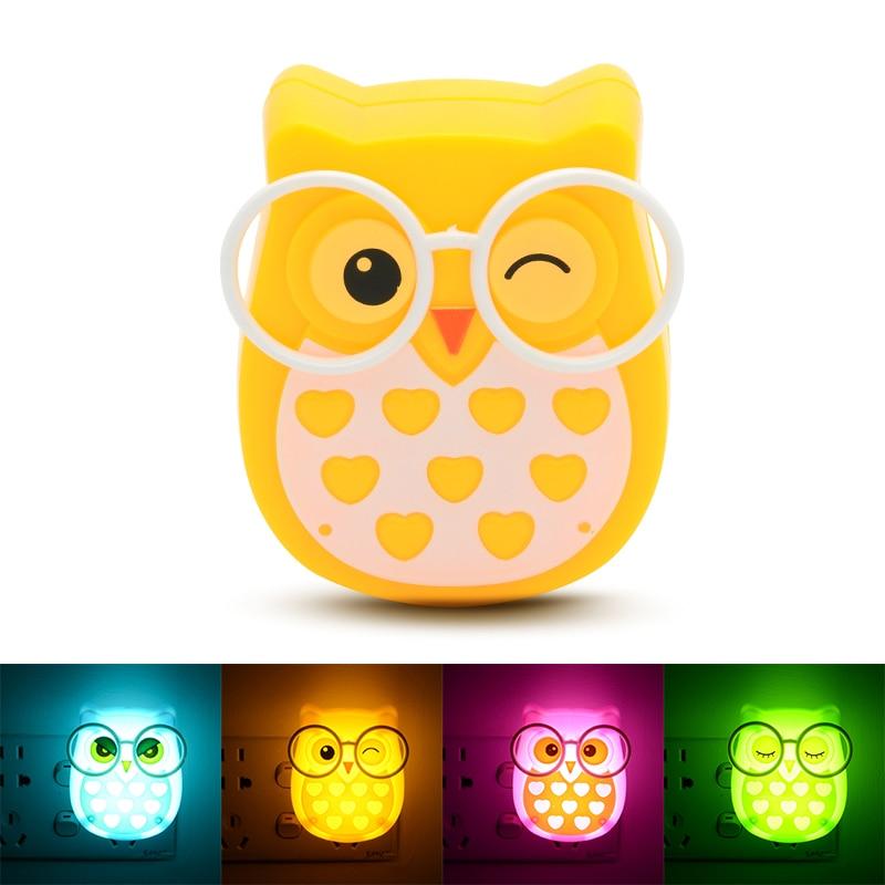 Mini Owl Baby Night light Automatic Sensor Light Control Lamp EU US Plug Child Kids Baby Room Led Lamp Animal Socket veilleuse