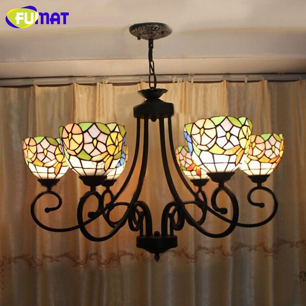 FUMAT Flowers Chandelier European Iron Vintage Classical Glass Bar Lamp LED Light for Study Living Room Bedroom Lustre 6 Lights
