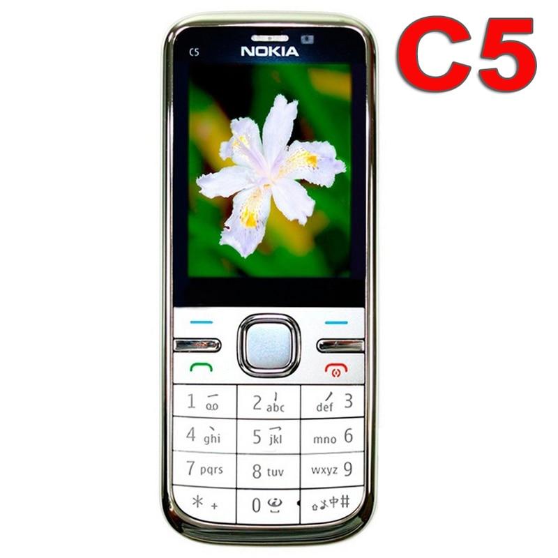 Цена за Оригинальный Nokia C5 Mobile Phone 3 Г Разблокирована Восстановленное Классический Телефон c5 00 Английский Русский Арабский Клавиатура