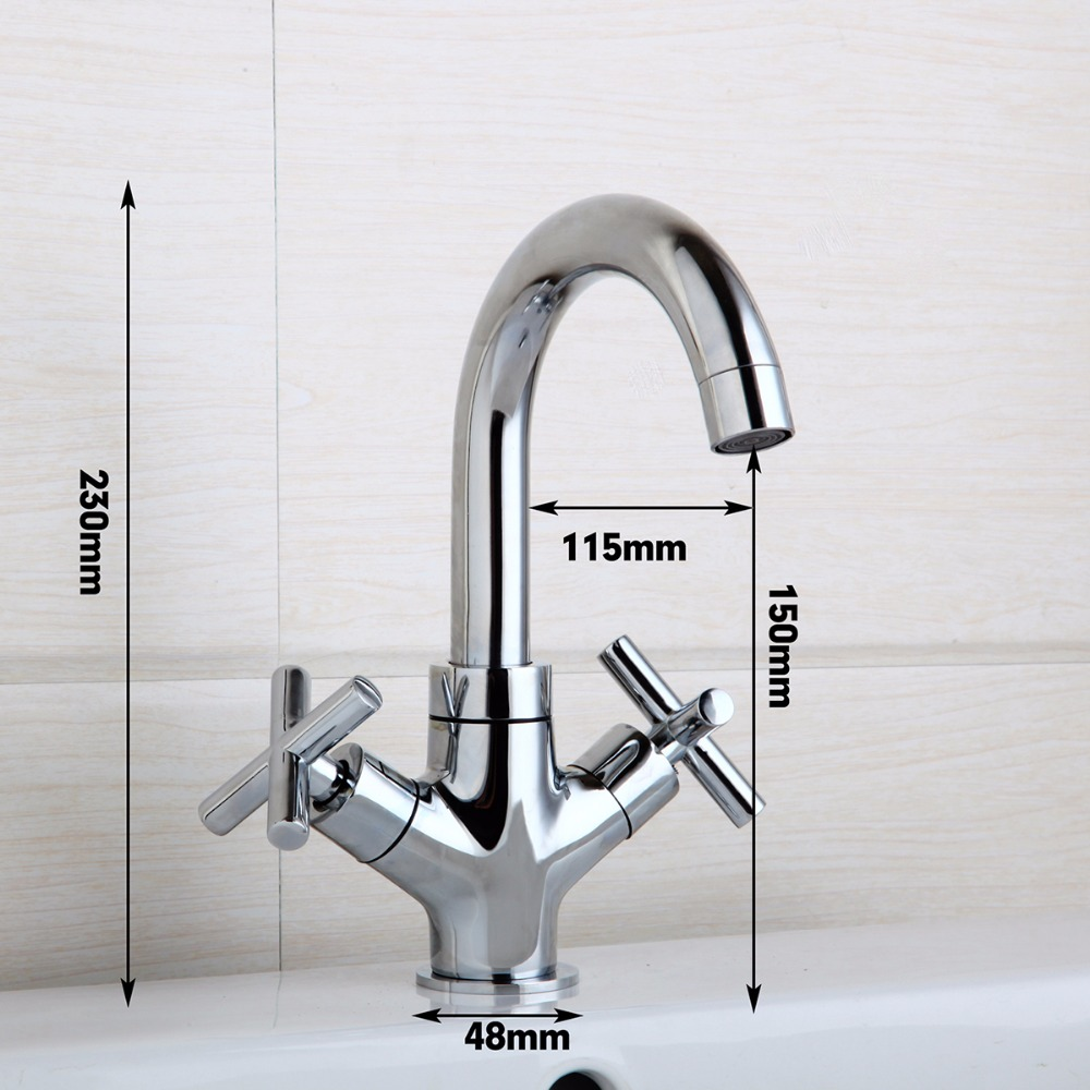 360 Swivel Kitchen Sink Faucet  Two Handles Chrome Brass Finish Stream Spout Kitchen Faucet Hot & Cold Mixer Deck Mounted Tap 2 hole deck mounted 360 swivel spout bathroom basin faucet antique brass dual cross handles kitchen sink mixer taps wnf036