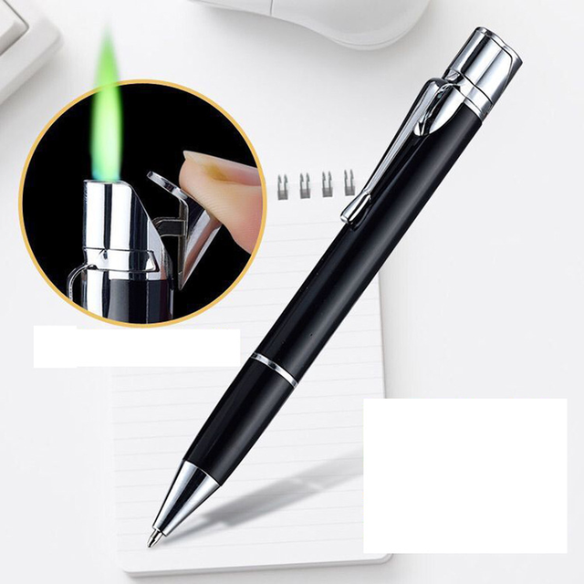 Creative Ball Point Pen Shape Windproof Gas Lighters Adjustable Green Straight Flame Gas Jet Torch Cigar Lighter Gadgets for Men