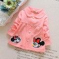 2016 primavera nuevo color sólido de dibujos animados Minnie niños de las muchachas chaqueta de punto fino algodón chaqueta de la capa