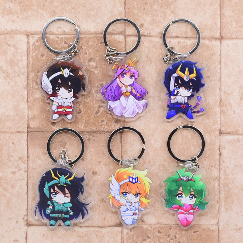 2019 Saint Seiya Keychain Double Sided Key Chain Acrylic Pendant Anime Accessories Cartoon Key Ring