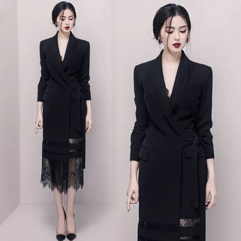 Patchwork Blazer Lace Luxury Long-Sleeve Female Autumn Winter Fashion New Empire Party