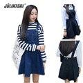 Mulheres verão denim vestidos 2017 vestidos de moda de nova estudante coreano cintura alta bonito algodão casual dress slim s-l venda quente