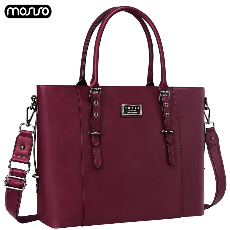 MOSISO Fashion PU Leather Laptop Bag For Women 13.3 14 15 15.6 Inch Waterproof Notebook Bags Case Briefcase Handbags Messenger