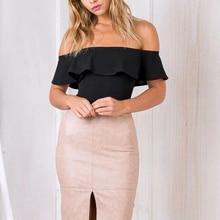 Women Bodysuit Ruffle Elegant Overalls Skinny