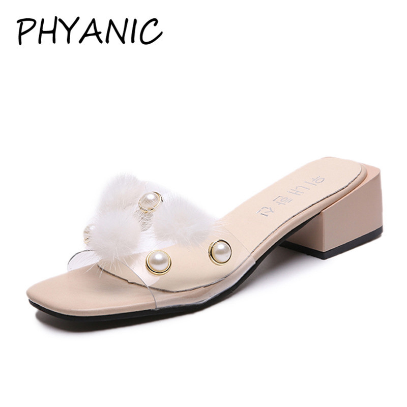 PHYANIC Women Thick Heel Shoes Slides Summer Sandals Fur Transparent Band Slippers High Heel Sandals Beading Mules Shoes PHY3256 phyanic 2017 gladiator sandals gold silver shoes woman summer platform wedges glitters creepers casual women shoes phy3323