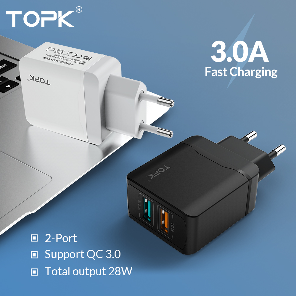 TOPK Dual-Usb-Charger Charger-Adapter Travel Eu-Plug Huawei Xiaomi Samsung iPhone X 18W