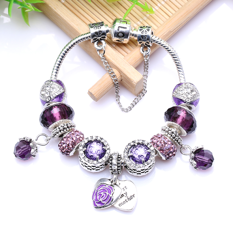 Popular Charm Bracelets 2: New European Antique Silver Purple Rhinestone Charm
