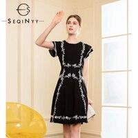 SEQINYY Black Dress Flowers Embroidery High Quality Crystal Bead 2019 Summer New Fashion Short Sleeve Ruffles A line Mini Dress