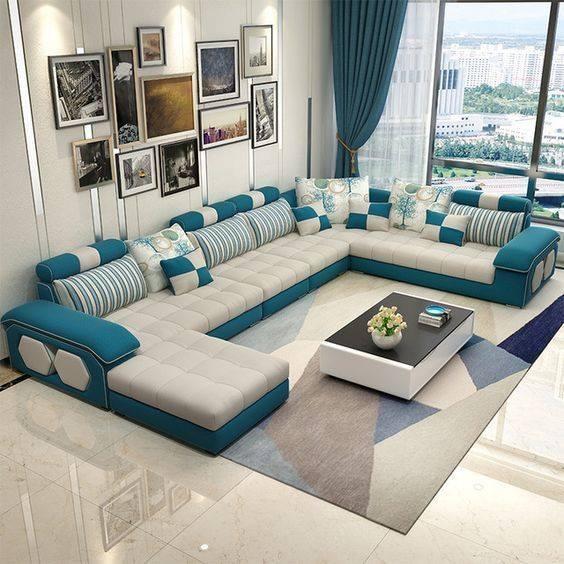 US $949.05 5% OFF|Velvet hanf linen hemp fabric sectional sofas Living Room  Sofa set furniture alon couch puff asiento muebles de sala canape U-in ...
