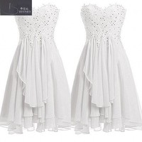 Simple Style Sweetheart Neck A Line Lace and Chiffon Beach Casual Wedding Dress Cheap