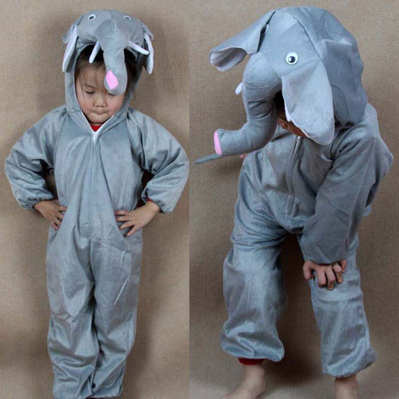 Umorden Barn Barn Flickor Pojkar Tecknad Djur Kostymer Performance Jumpsuit Elephant Children's Day Halloween Kostym Cloth
