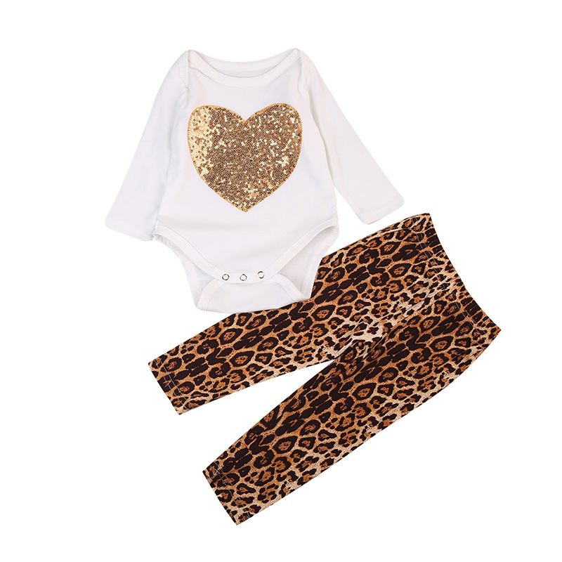 Sequins Newborn Baby Girl Clothes Long Sleeve Heart Romper Tops+Leopard Pant Legging 2PCS Outfit Toddler Kids Clothing Set 0-24M infant baby boy girl 2pcs clothes set kids short sleeve you serious clark letters romper tops car print pants 2pcs outfit set