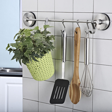 ФОТО Hanging type kitchen hanger Gourmet Kitchen Wall Mount Rail and 6 Hooks Stainless Steel Pot Pan Lid Holder Rack No punching