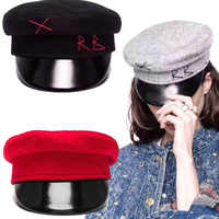 Winter Woman's Military Army Navy Leather Cap Literary Letter Newsboy Hats Warm For Autumn Winter Flat Top Berets Woman's Hat
