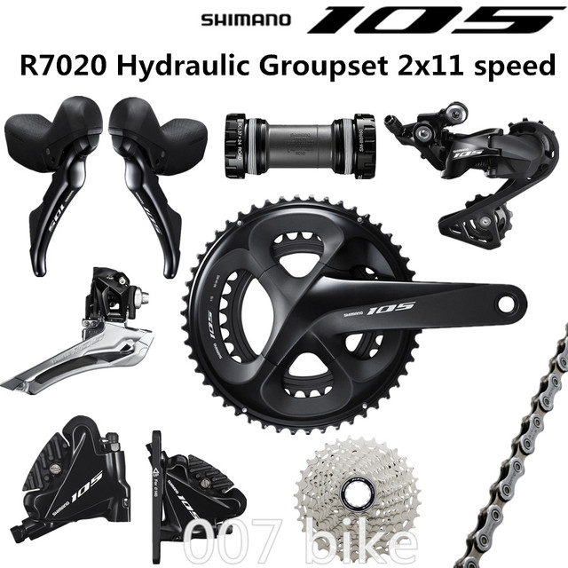 10abc2400ca SHIMANO R7020 Groupset 105 R7020 Hydraulic Disc Brake Derailleurs ROAD  Bicycle R7020 R7070 shifter FC 50