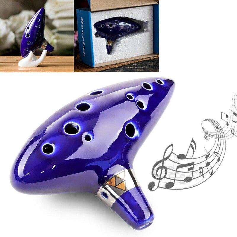12 Loch Alto C Keramik Ocarina Flöte Musikinstrument mit Gig Bag.