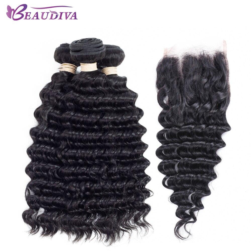 BEAUDIVA Brazilian Deep Wave Hair Human Hair Bundles With Closure 3 Bundles With Closure Free Part Non Remy Hair Extension