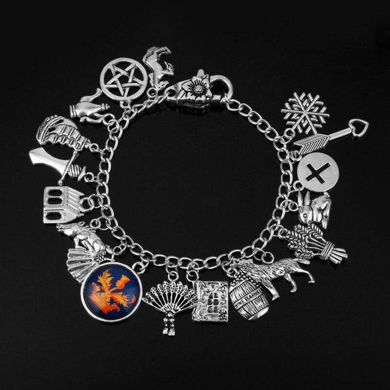 dongsheng Wholesale 20pcs lot Outlander Themed Charm Dangles Bracelet Bangles Vintage Accessories For Women Men Fans