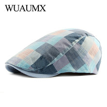 Wuaumx Summer Berets Hat Men Colorful Plaids Newsboy Cap Women Artist Painter Visors Herringbone Beret Duckbill Ivy Flat