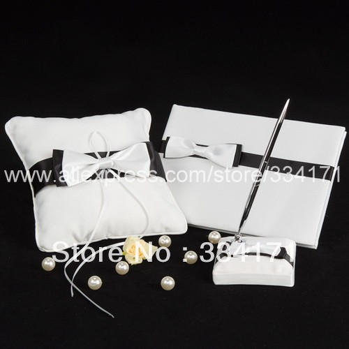 ᗛ3 unids set blanco y negro wedding Collection set con arco nudo ...