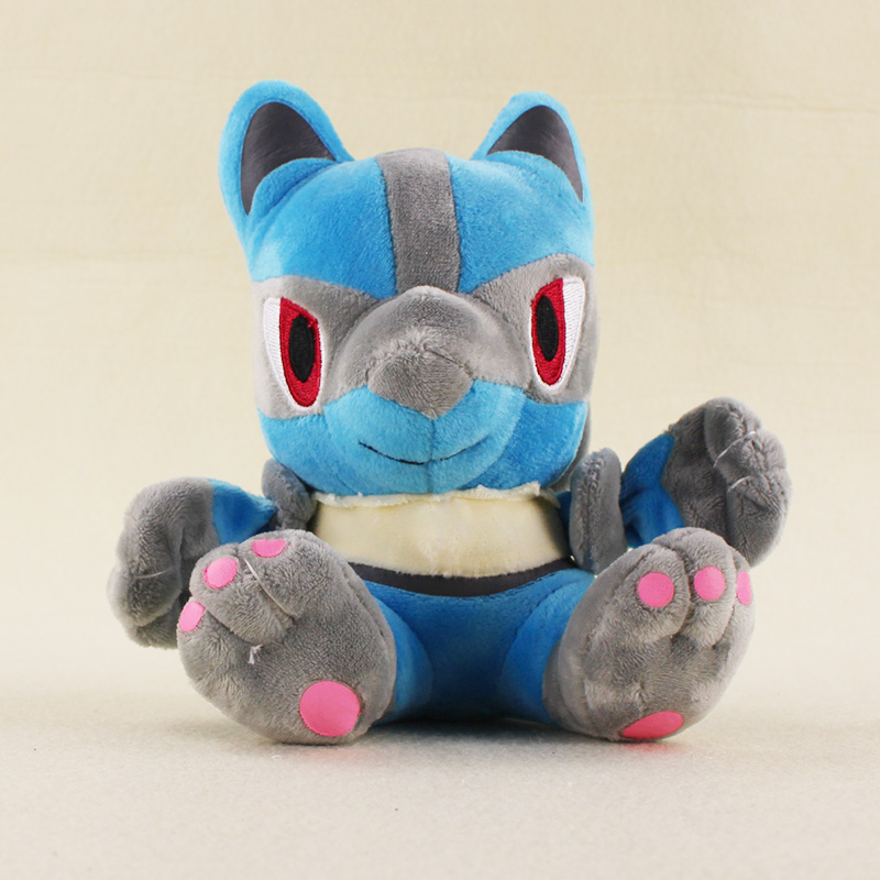17cm Anime Kawaii Lucario Plush Doll Toys Stuffed Animal Lucario Plush Action Figures