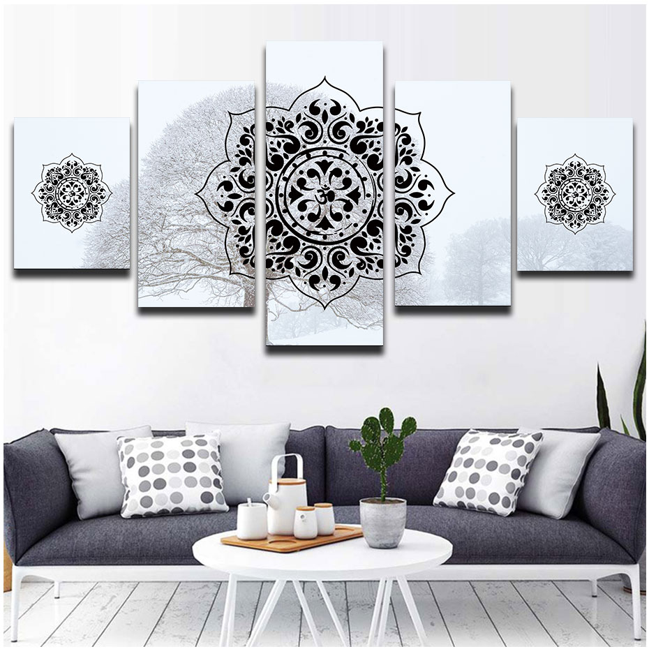 5 Pieces paintings for living room snow background islamic muslim arabic wall poster print mandala pictures modular art murals