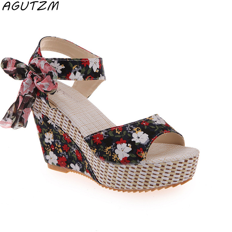 AGUTZM New Ladies Shoes Women Sandals Summer Open Toe Fish Head Fashion Platform High Heels Wedge Sandals Female Shoes Women in the summer of 2016 the new wedge heels with fish in square mouth denim fashion sexy female cool shoes nightclubs