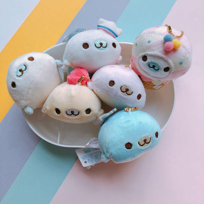 1pc Kawaii San-x Cartoon Blue Whale Plush Toys Doll Cute Sea Animal Soft Stuffed Keychain For Girls Gifts