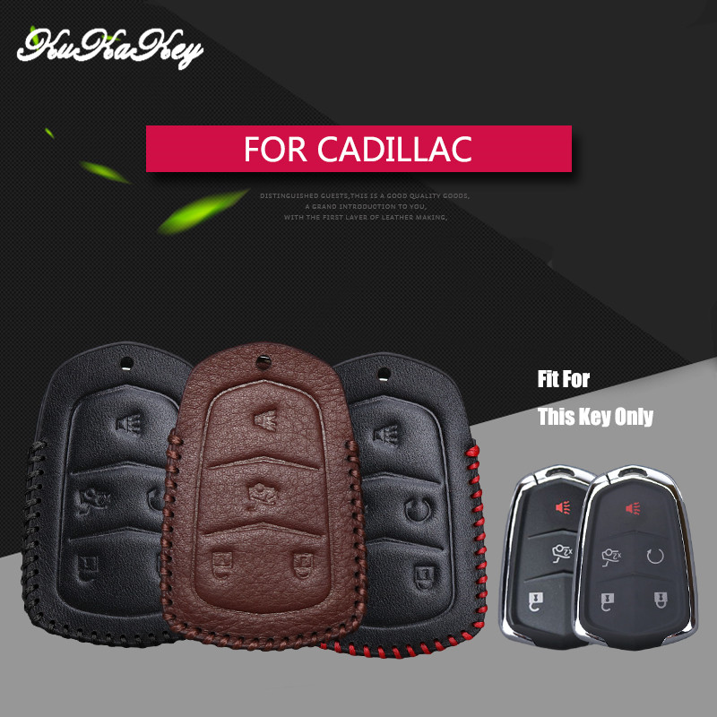 KUKAKEY Leather Car Key Fob Case Bag Shell Protected Cover For Cadillac CTS ATS 28T CTS-V coupe SRX Escalade ESV Key Cover