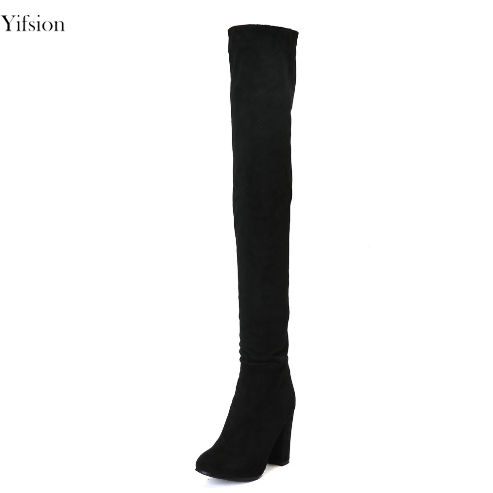Yifsion New Women Winter Boots Over The Knee Boots Square High Heel Black Ladies Sexy Round Toe Working Shoes Women US Size 4-15 yifsion hot women shiny sandals sexy square high heel sandals open toe black blue pink red leisure shoes women us plus size 4 15