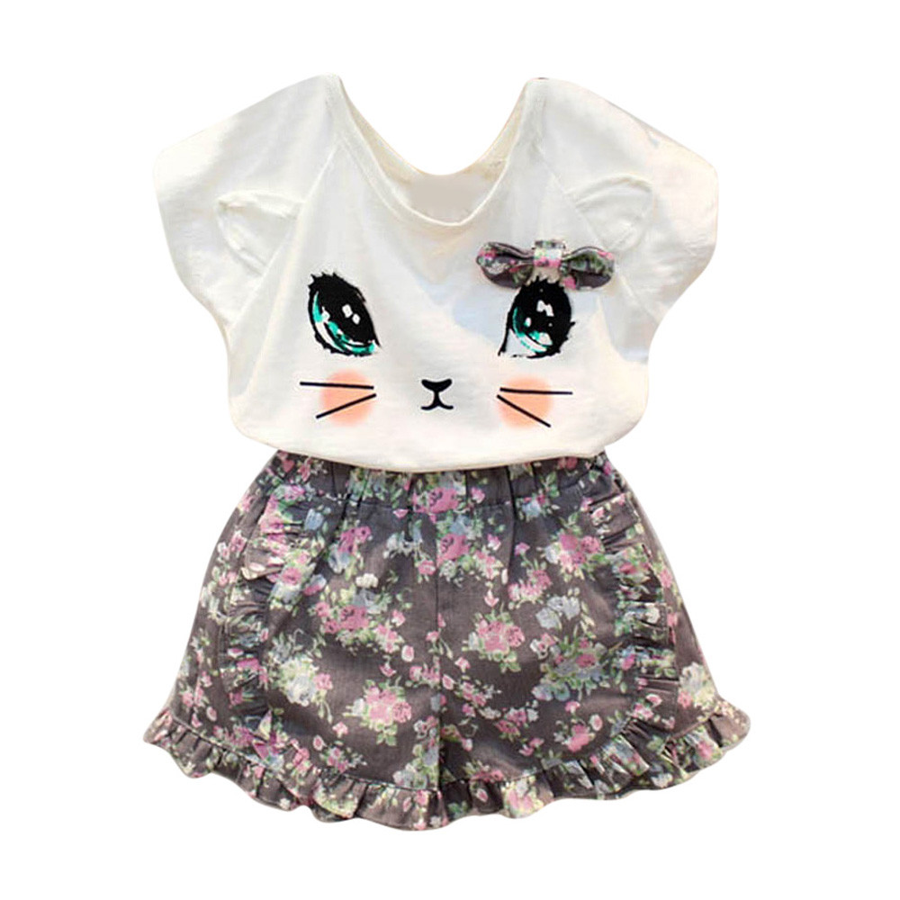 2017 Cute Girls Cat Solid T-shirt + Floral Pattern Shorts Set Clothes Fashion Suit 2pcs girls children clothing summer clothes