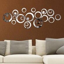 3D DIY daire ayna duvar Sticker ev dekorasyon duvar çıkartmaları TV arka plan ev dekor akrilik dekor duvar sanatı