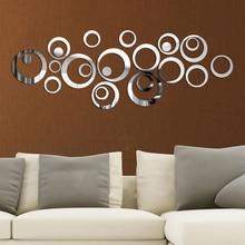 3D DIY עיגולים מראה קיר מדבקת עיצוב הבית קיר מדבקות טלוויזיה רקע בית תפאורה אקריליק דקור קיר אמנות