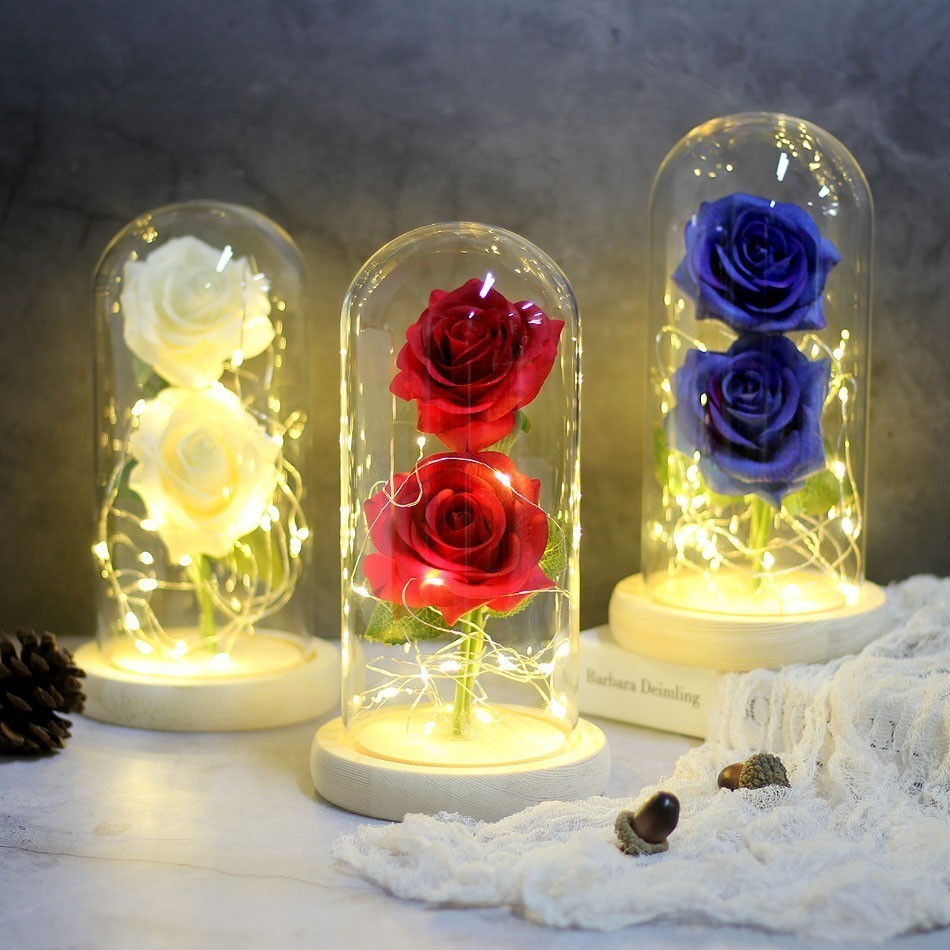 Beauty Rose Red Flower String-Light Decoration Battery-Powered Valentine's-Day-Gift Hot
