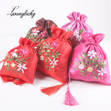 10pcs/lot Jewelry Storage Bags Chinese Style Flower Embroidered 18x23cm Cloth Wedding Candy Packing Sack Gift Pouches
