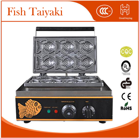 Whosale freeshipping  fish stuff donut maker snack equipment Electric 6pieces Korean Fish Taiyaki Baker