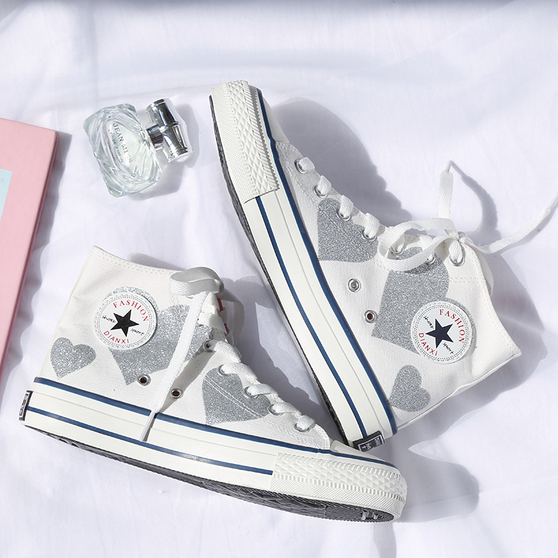Heart Pattern Retro High-top Canvas Women Shoes 2019 Summer New Fashion Female White Casual Shoes High Quality Flat Breathable
